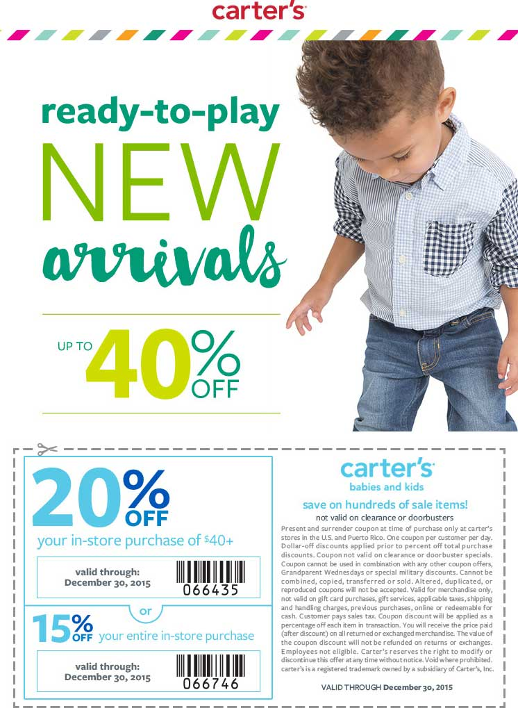 Carters Coupon October 2016 15-20% off at Carters, or online via promo code DECCART
