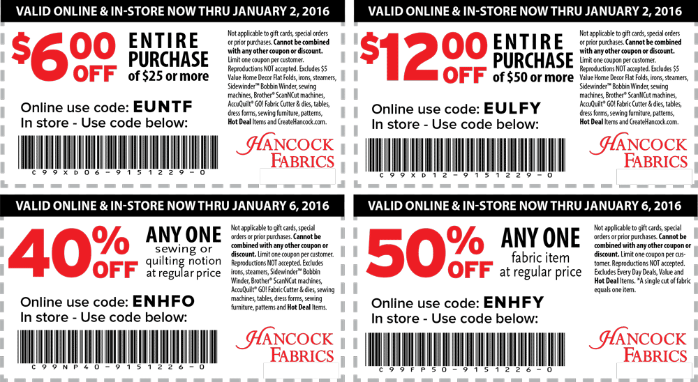 Hancock Fabrics Coupon January 2018 50% off a single item at Hancock Fabrics, or online via promo code ENHFY