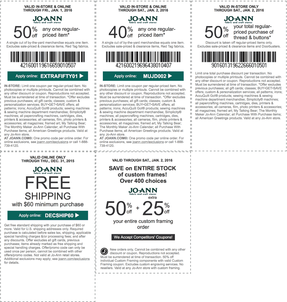 Jo-Ann Fabric Coupon July 2019 50% off a single item & more at Jo-Ann Fabric, or online via promo code EXTRAFIFTY01