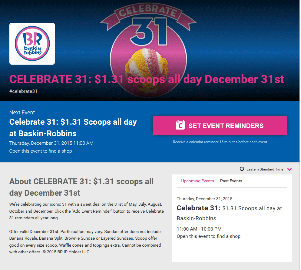 Baskin Robbins Coupon May 2019 $1.31 ice cream scoops Thursday at Baskin Robbins