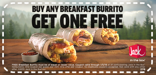 Jack in the Box Coupon July 2017 Second breakfast burrito free at Jack in the Box restaurants