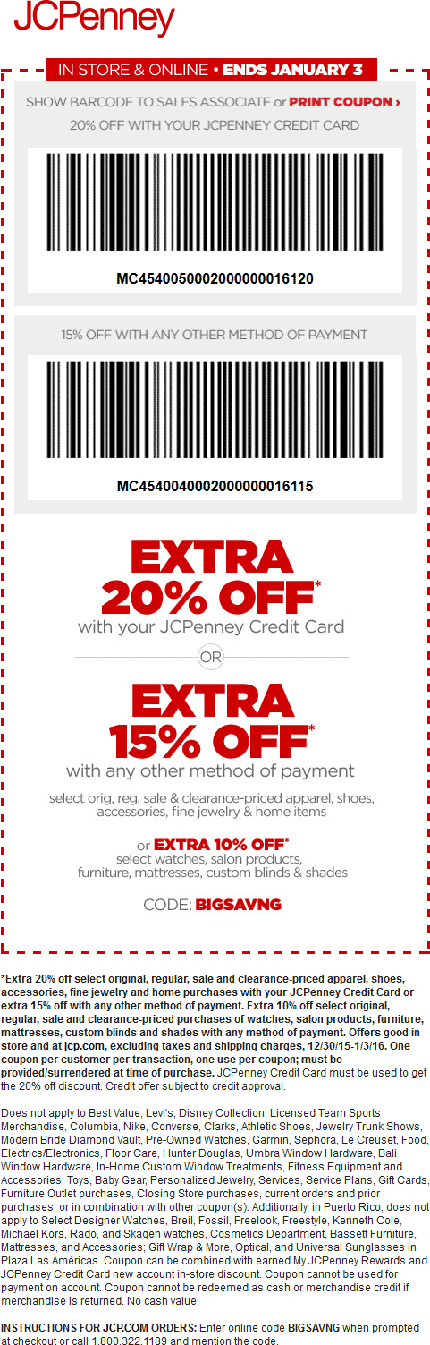 JCPenney Coupon May 2018 15% off at JCPenney, or online via promo code BIGSAVNG