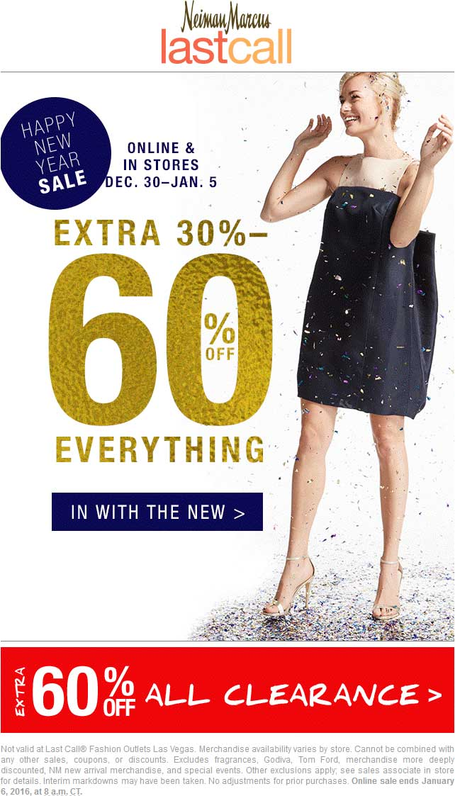 Last Call Coupon April 2018 Extra 30-60% off everything at Neiman Marcus Last Call, ditto online