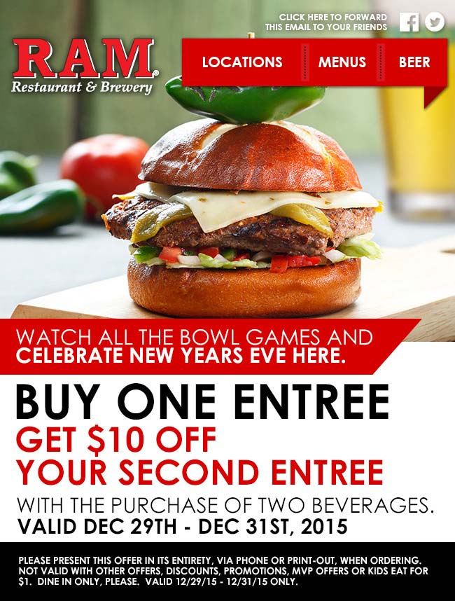Ram Coupon May 2017 Second entree $10 off at Ram restaurant & brewery