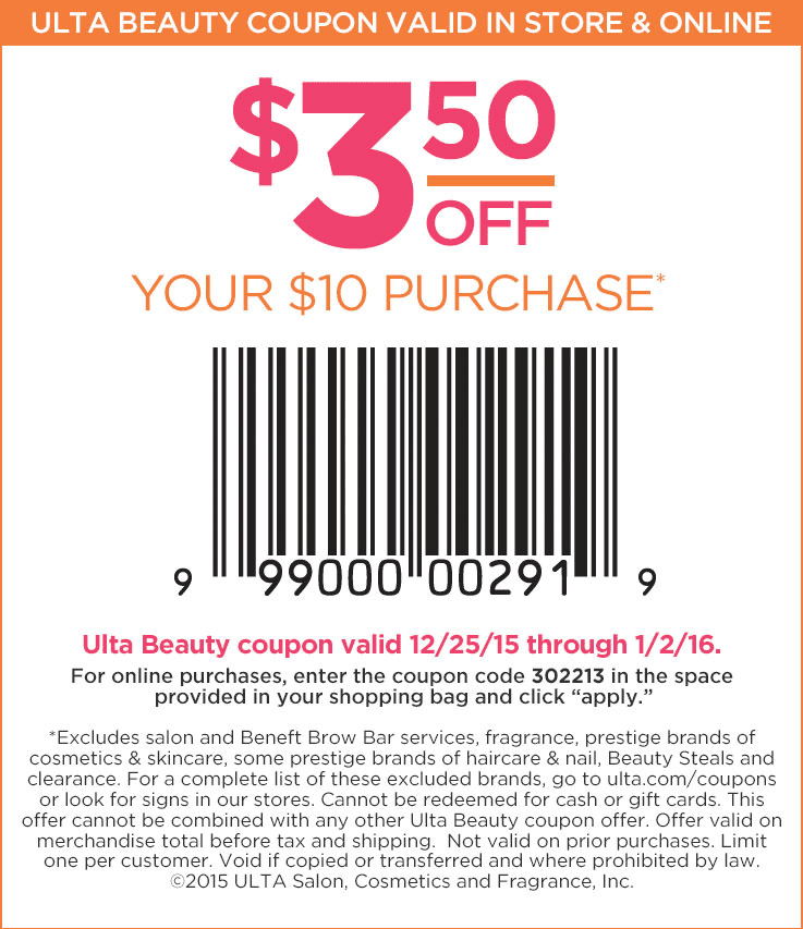 Ulta Coupon January 2018 $3 off $10 at Ulta Beauty, or online via promo code 302213