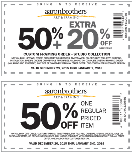 Aaron Brothers Coupon July 2018 50% off a single item at Aaron Brothers art & framing
