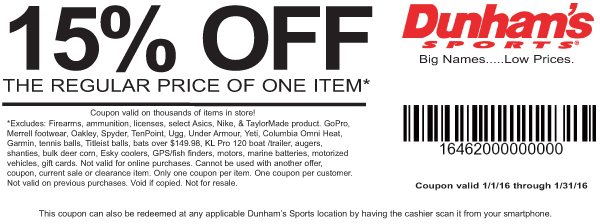 Dunhams Sports Coupon March 2018 15% off a single item at Dunhams Sports