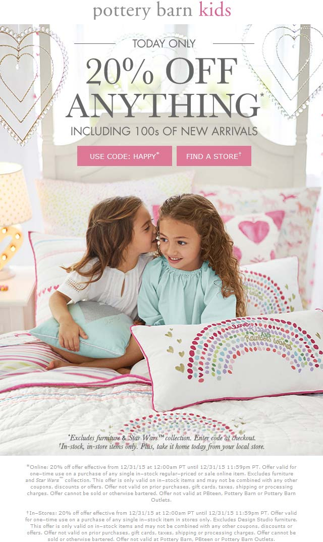 Pottery Barn Kids Coupon January 2018 20% off today at Pottery Barn Kids, ditto online