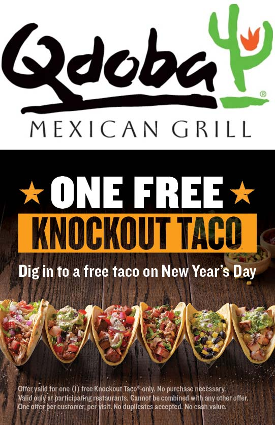 Qdoba.com Promo Coupon Free taco Friday at Qdoba, no purchase necessary