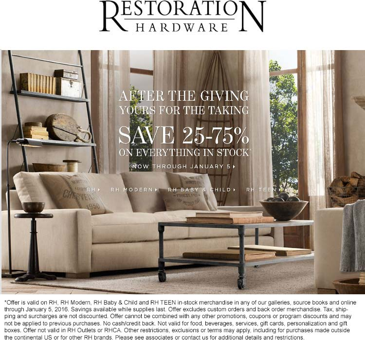 Restoration Hardware Coupon August 2017 25-75% off everything at Restoration Hardware, ditto online