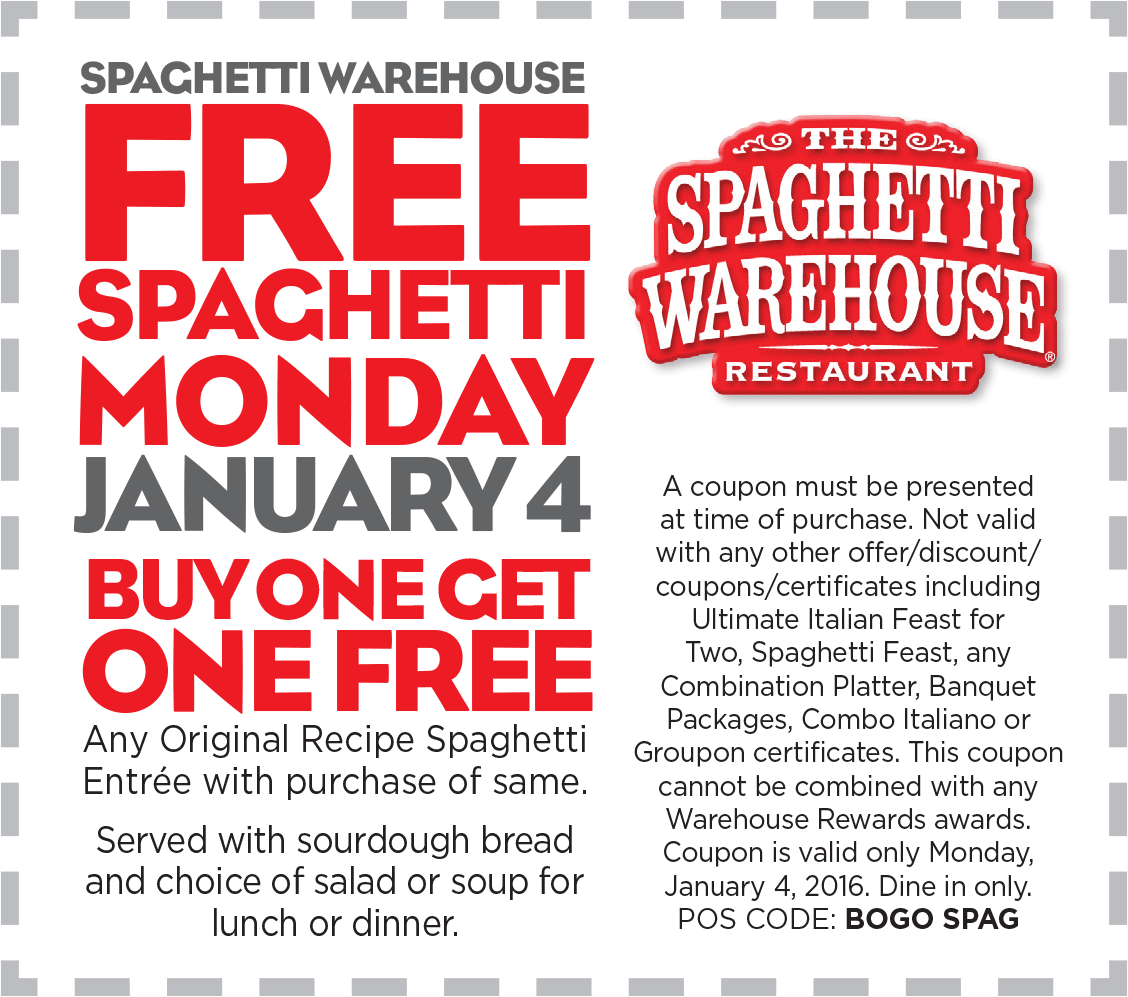 Spaghetti Warehouse Coupon October 2016 Second spaghetti meal free Monday at Spaghetti Warehouse