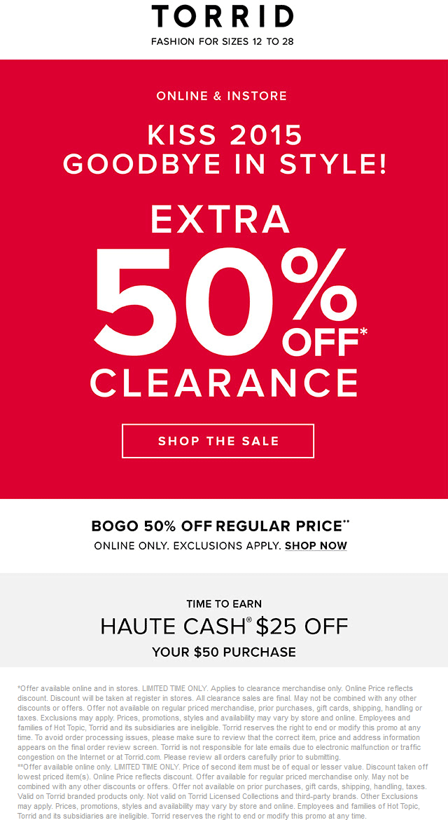 Torrid Coupon June 2018 Extra 50% off clearance at Torrid, ditto online