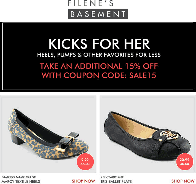 FilenesBasement.com Promo Coupon 15% off shoes for her online at Filenes Basement via promo code SALE15