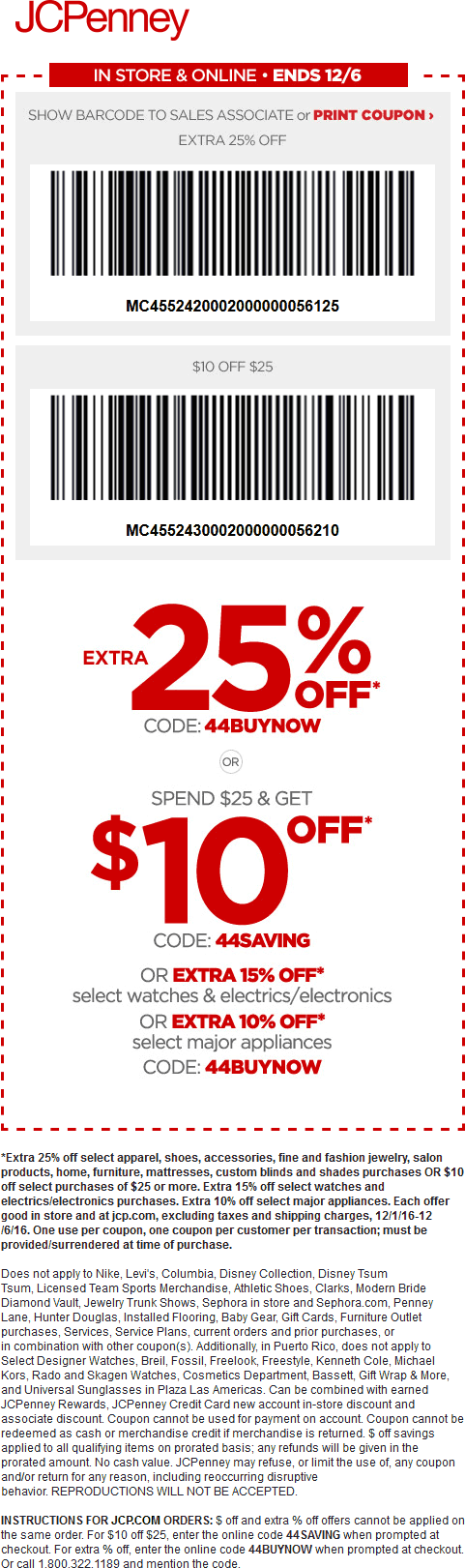 JCPenney.com Promo Coupon $10 off $25 & 25% off at JCPenney, or online via promo code 44SAVING