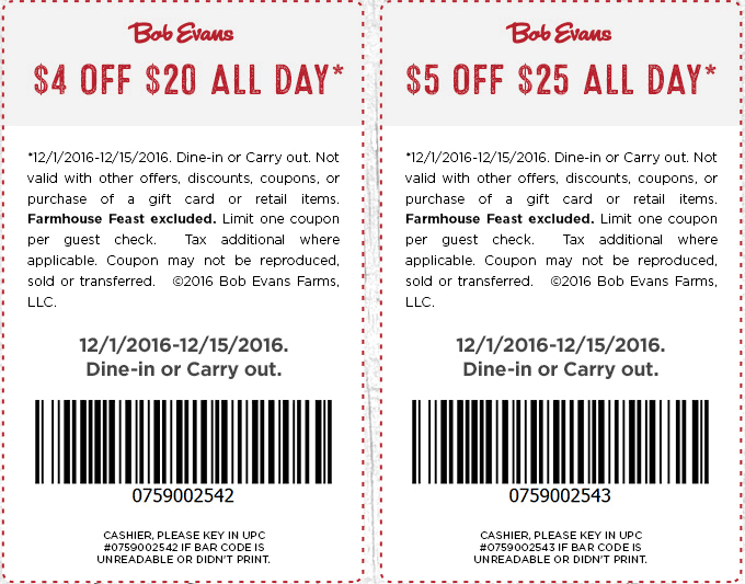 BobEvans.com Promo Coupon $4-$5 off $20+ at Bob Evans restaurants