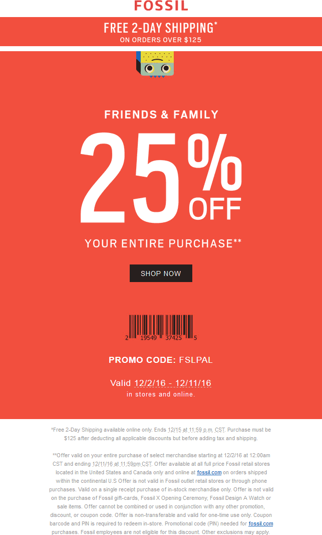Fossil.com Promo Coupon 25% off at Fossil, or online via promo code FSLPAL