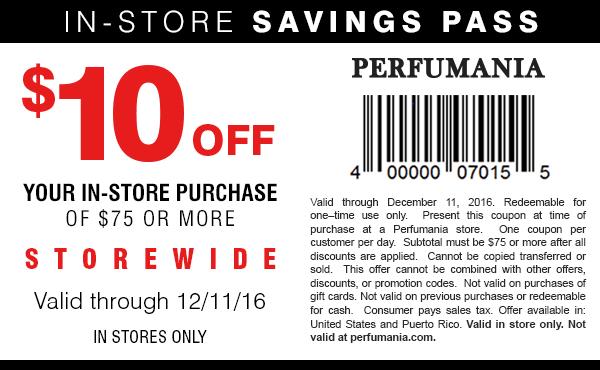 Perfumania.com Promo Coupon $10 off $75 at Perfumania