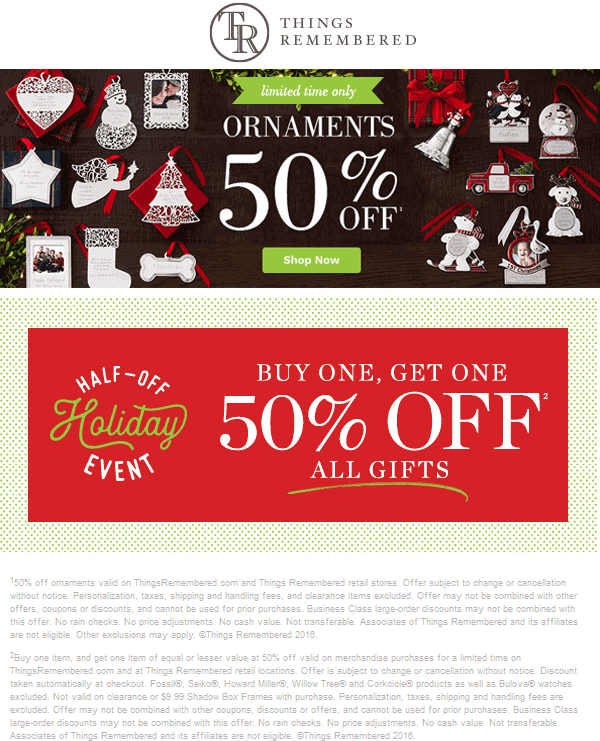 ThingsRemembered.com Promo Coupon Second item 50% off at Things Remembered, ditto online
