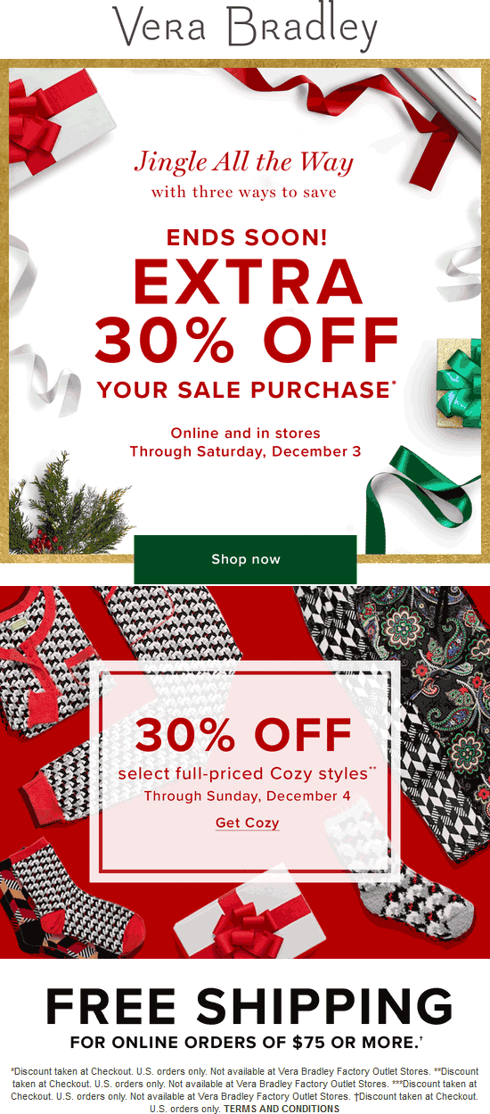 VeraBradley.com Promo Coupon Extra 30% off sale items at Vera Bradley, ditto online