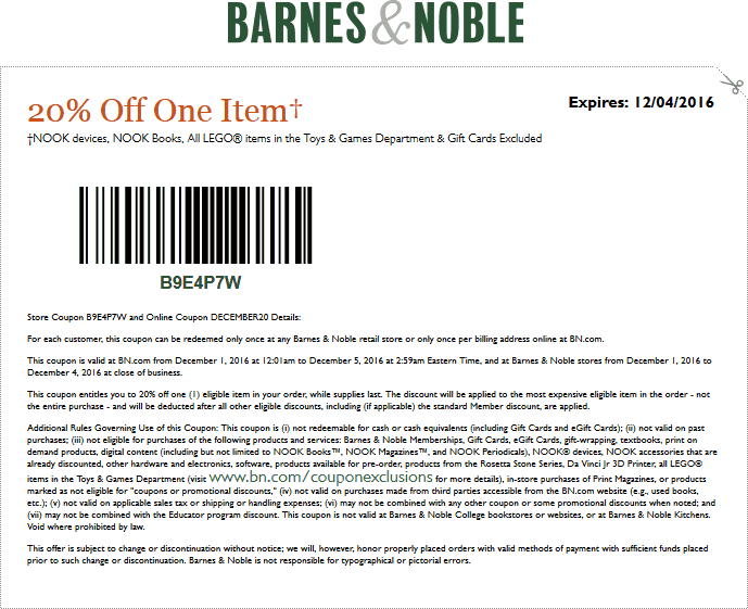 Barnes&Noble.com Promo Coupon 20% off a single item at Barnes & Noble