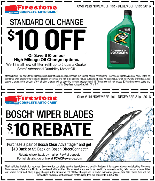 Firestone.com Promo Coupon $10 off an oil change at Firestone
