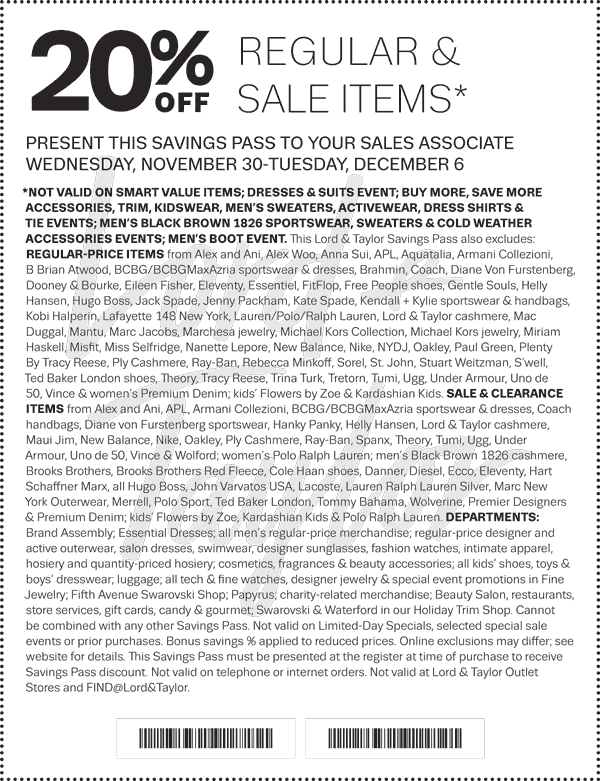 Lord&Taylor.com Promo Coupon Extra 20% off at Lord & Taylor, or online via promo code SPECTACULAR