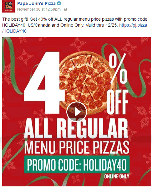PapaJohns.com Promo Coupon 40% off pizza online at Papa Johns via promo code HOLIDAY40