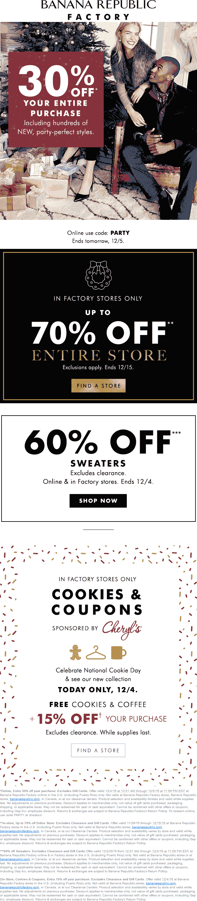 BananaRepublic.com Promo Coupon 30-70% off everything + another 15% Sunday at Banana Republic Factory, or online via promo code PARTY