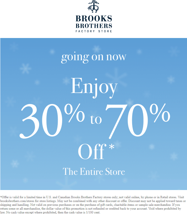 BrooksBrothersFactory.com Promo Coupon Extra 30-70% off everything at Brooks Brothers Factory locations