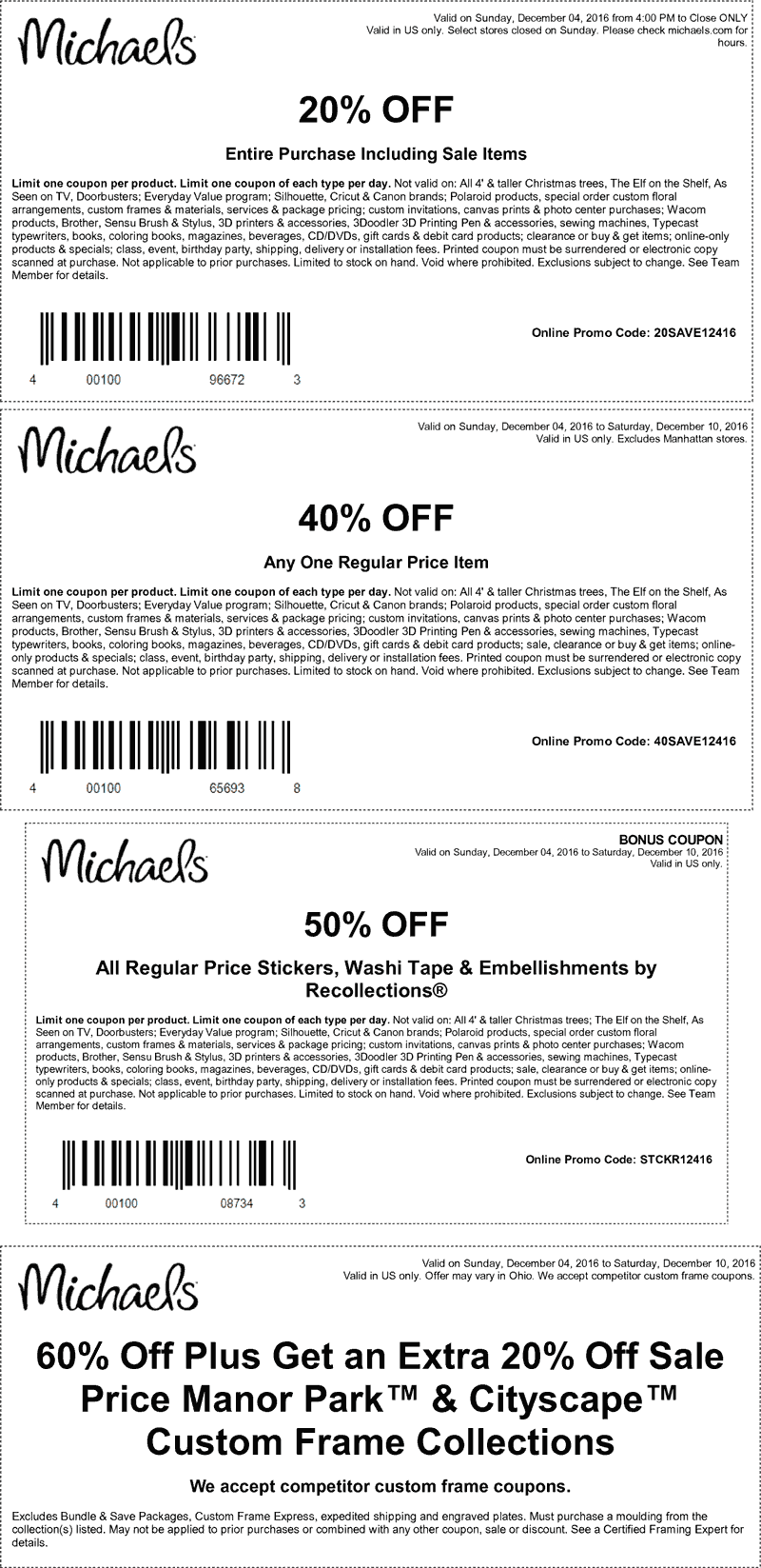 Michaels.com Promo Coupon 20% off the tab & more at Michaels, or online via promo code 20SAVE12416