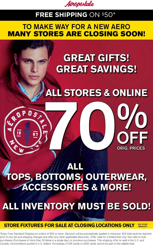 Aeropostale.com Promo Coupon 70% off at Aeropostale, ditto online