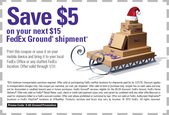 FedEx.com Promo Coupon $5 off $15 on shipping at FedEx