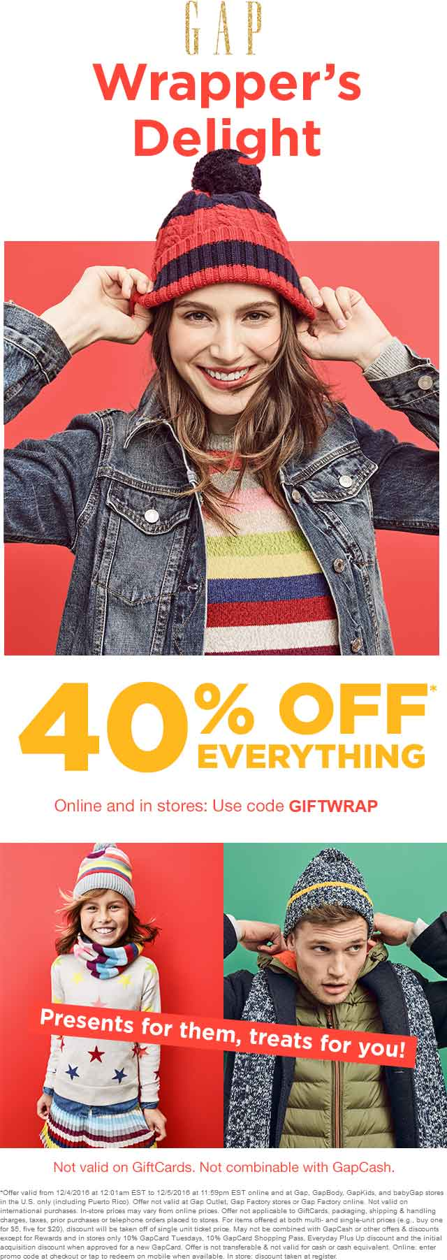 Gap.com Promo Coupon 40% off everything at Gap, or online via promo code GIFTWRAP