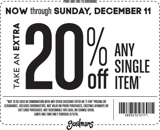 Gordmans.com Promo Coupon Extra 20% off a single item at Gordmans