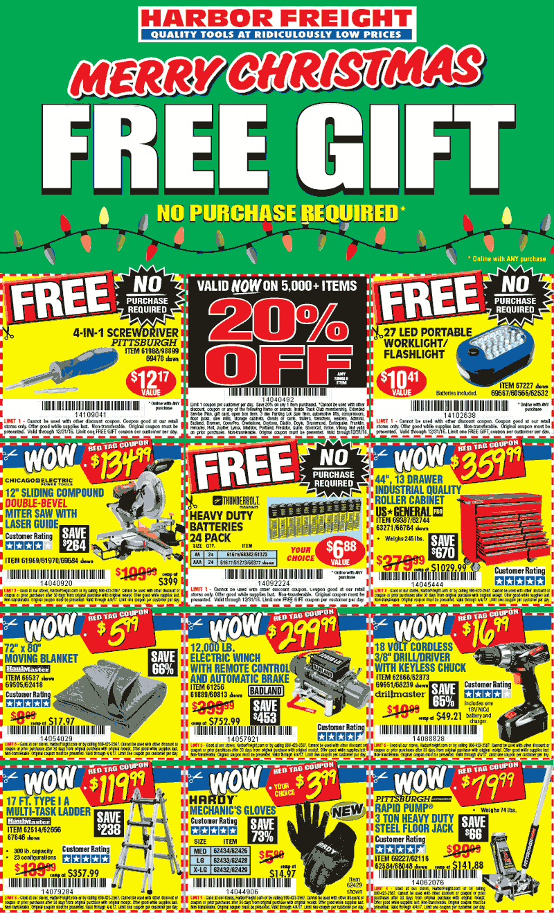 HarborFreight.com Promo Coupon Free 24pk batteries, 4-in-1 screwdriver & more at Harbor Freight Tools - no purchase necessary