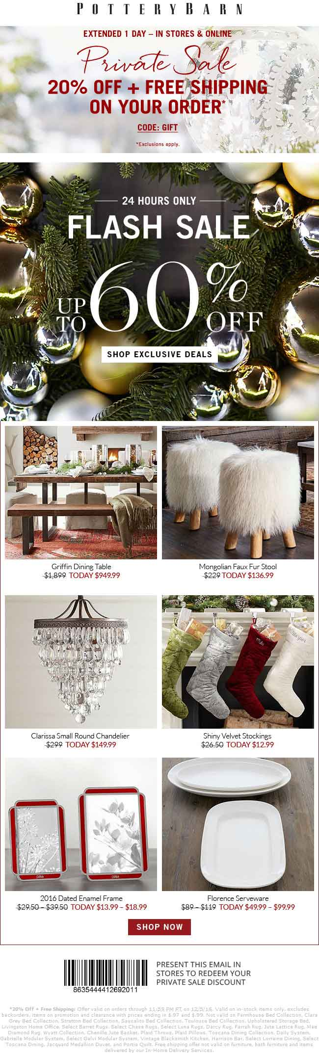 PotteryBarn.com Promo Coupon 20% off today at Pottery Barn, or online with free ship via promo code GIFT