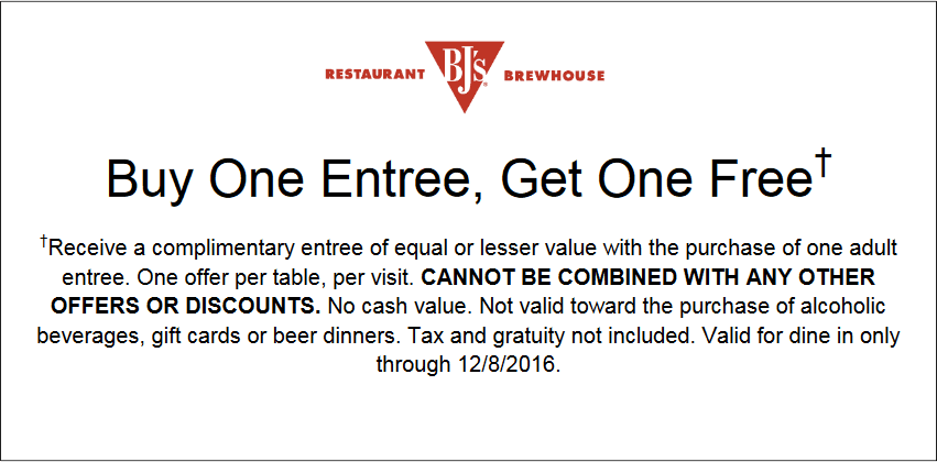 BJsRestaurant.com Promo Coupon Second entree free at BJs Restaurant & brewhouse