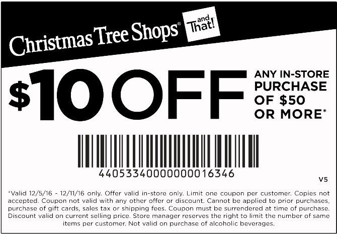 ChristmasTreeShops.com Promo Coupon $10 off $50 at Christmas Tree Shops