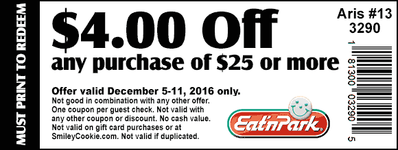 EatnPark.com Promo Coupon $4 off $25 at Eat N Park restaurants