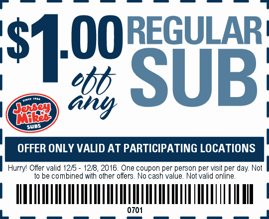 JerseyMikes.com Promo Coupon Shave a buck off your sub at Jersey Mikes