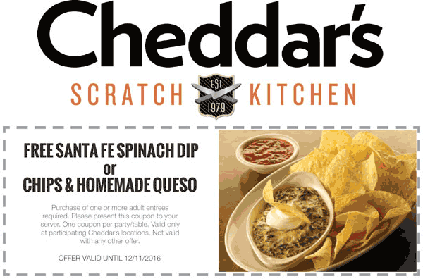 Cheddars Scratch Kitchen Coupon October 2018 Free spinach dip or queso with your entree at Cheddars Scratch Kitchen