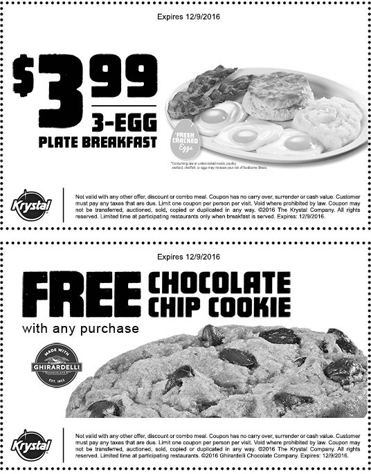 Krystal.com Promo Coupon 3 egg plate breakfast for $3 & free cookie at Krystal