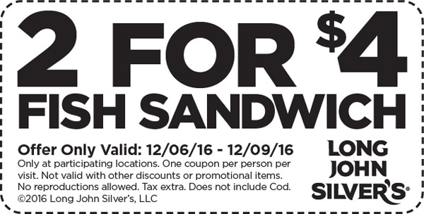 LongJohnSilvers.com Promo Coupon 2 fish sandwiches for $4 at Long John Silvers