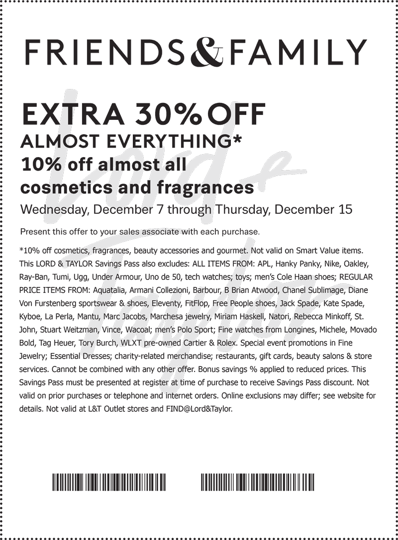 Lord&Taylor.com Promo Coupon 30% off everything at Lord & Taylor, or online via promo code FRIENDS