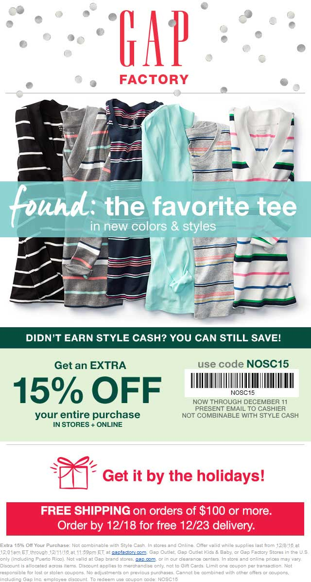 GapFactory.com Promo Coupon Extra 15% off at Gap Factory, or online via promo code NOSC15