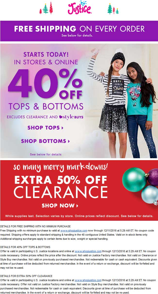 Justice.com Promo Coupon 40% off tops & bottoms, 50% off clearance at Justice, ditto online