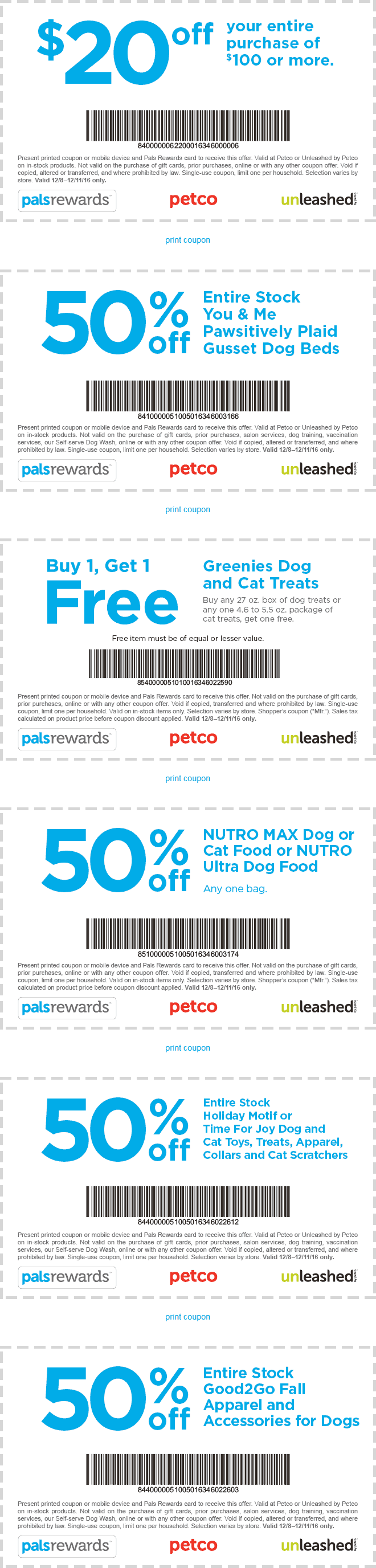 Petco.com Promo Coupon $20 off $100 & more at Petco