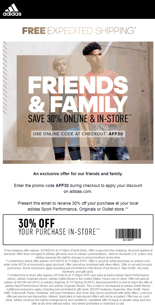 Adidas.com Promo Coupon 30% off at Adidas, or online with free expedited ship via promo code AFF30