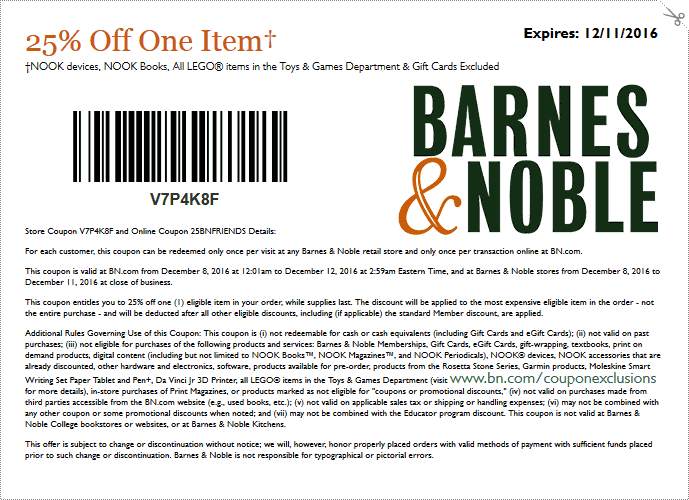 Barnes&Noble.com Promo Coupon 25% off a single item at Barnes & Noble, or online via promo code 25BNFRIENDS