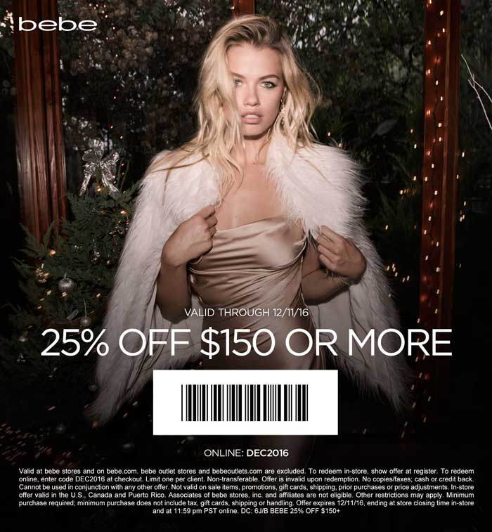 Bebe.com Promo Coupon 25% off $150 at bebe, or online via promo code DEC2016